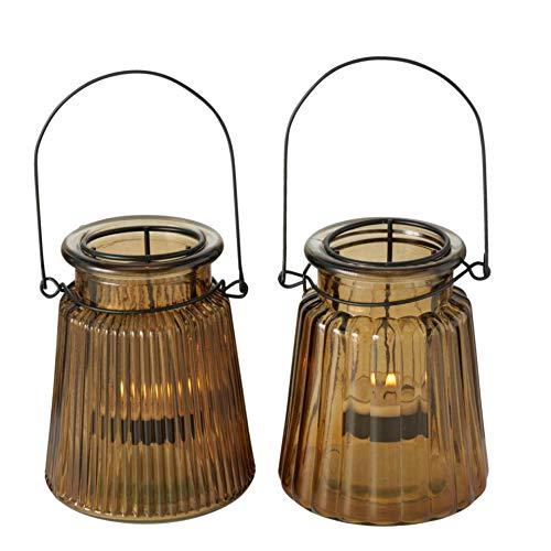 Glas Leuchter Kerzenleuchter Windlichter Teelichthalter 2er Set Sortiert braun H12cm D10cm