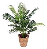 TorcalFlor Plante artificielle Palmera Kentia toucher naturel avec pot en plastique Noir 130 cm