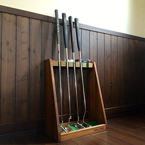 ゴルフクラブスタンド パター5本用 【色:ブラウン】