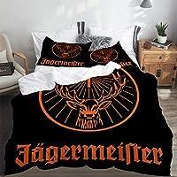SUHETI Bedding Juego de Funda de Edredón,Logotipo de Jagermeister,Microfibra Funda de Nórdico y Fundas de Almohada-(Cama 140 x 200cm)