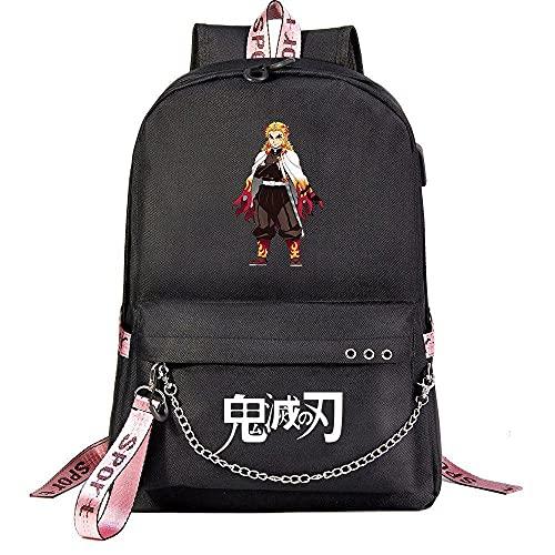 ZXXFR Mochila bolsos Anime Demon Slayer Teen Student School Bag Negro senderismo portatil ordenador instituto escolares juveniles bolso