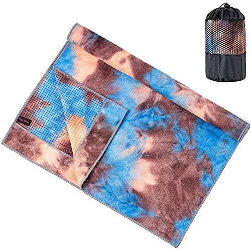 Jimjis 2 paquetes de toallas de yoga antideslizantes con patrón de toalla deportiva de microfibra absorbente de sudor de secado rápido toalla perfecta para yoga y pilates calientes y fitness (2 azul)