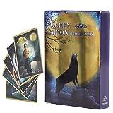 Hztyyier 44Pcs Tarot Card, Hologram Paper Flash Tarot Cards Decks, Queen of The Moon Fate Adivination Juego de Mesa en inglés Juego de Cartas para Fiestas