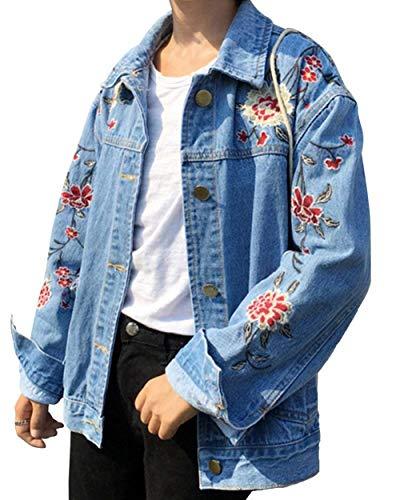 Jeansmantel Damen Frühling Herbst Elegant Bestickt Jeansjacke Fashion Jungen Chic Trendigen Jacke Vintage Hipster Denim Langarm Mit Multi-Tasche Button Mantel Outerwear (Color : Blau, Size : S)