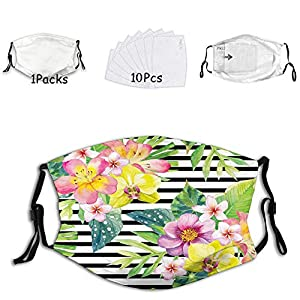 Fillter Face Cloth For Adults Bouquet with Lily Dahlia Palm Begonia Leaves Orchid Flowers Cold Mouth Dustproof Double Protection