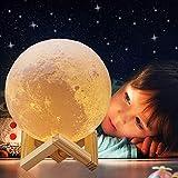 Lampada luna con stampa 3D 18 cm ACED LED Luce decorativa colorata 16 colori Luce notturna per bambini portatile con Ricarica USB per compleanno della fidanzata e il regalo di anniversario di Natale