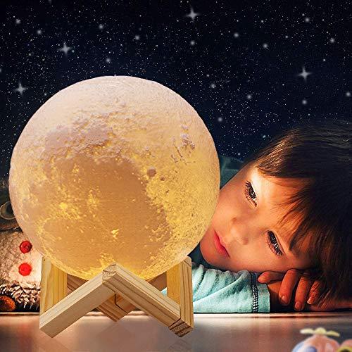 ACED 18cm LED 3D druck Mond Lampe mit Fernbedienung 16 Farben Farbige Dekoleuchte tragbares Kinder Nachtlicht mit USB Wiederaufladbar für Freundin Geburtstags und Weihnachts jahrestag geschenk