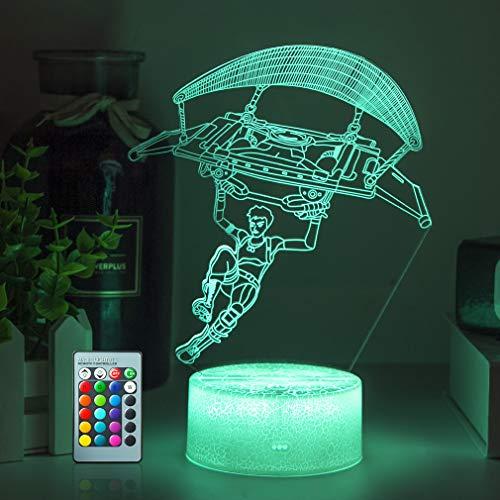 Spiel Paragliding 3D Illusion Lampe LED Nachtlicht,16 Farbe Tischlampe Kinder Geschenke RGB Stimmungs lampe Mit Fernbedienung für Geburtstag Festival Deko Geschenke
