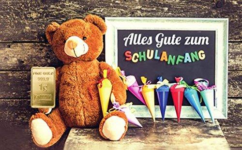 Deutsches Goldkontor 1,0 Gramm Feingold Motiv-Karte Schulanfang, Bär Goldbarren, Barren/999,9 Gold