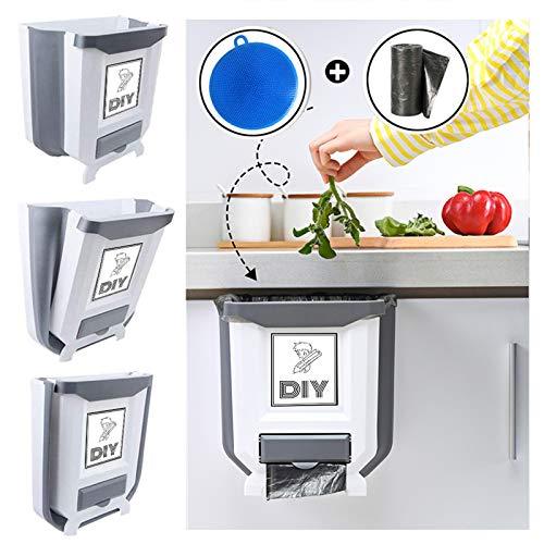 Xijing - Cubo de basura pequeño colgante para cocina, portátil, mini cubo de basura y plegable compacto para cajones de puerta de...
