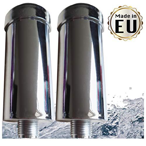 """2x Duschfilter gegen Kalk und Chlor - reduziert Hautreizungen und strohiges Haar, Markenfilter gefertigt in der EU, Kalkfilter für Dusche & Badewanne mit 1/2"""" Gewinde für normalen Brauseschlauch"""