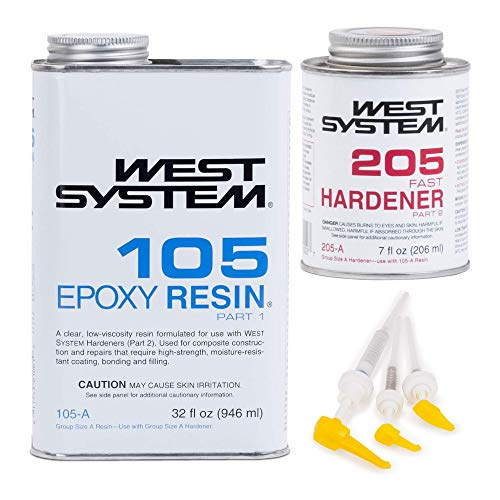 West System 105A Epoxy Resin (32 fl oz) Bundle with 205A Fast Epoxy Hardener (7 fl oz) and 300 Mini Pumps Epoxy Metering 3-Pack Pump Set (3 Items)