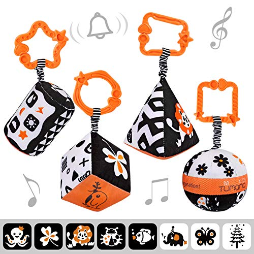 tumama Baby Toys for 3 6 12 Month Hanging Rattle Pushchair Black and White Stroller Cot Toys Pram clips Toddler Soft Toys for Infant Bed One Years Christmas New Year Birthday Party (4pack)