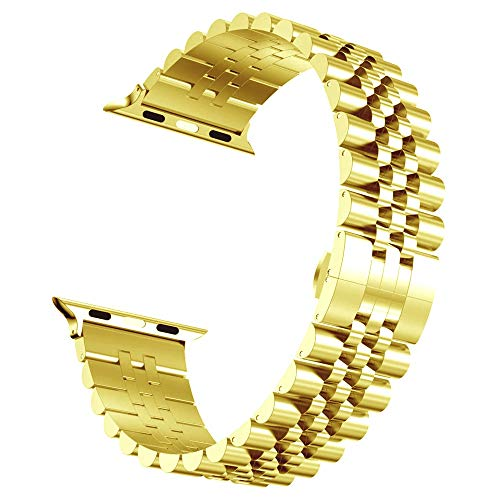 RHBLHQ Relojes Correas Correa de Pulsera de los Deportes sustitución del Metal de 40 mm 44 mm 38 mm 42 mm de Acero Inoxidable Correa Correa de Reloj (Band Color : Gold, Band Width : 42mm or 44mm)