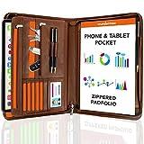 Zippered Padfolio, Leather Portfolio Binder - 10.1 Inch, Brown Business Folder, Resume/Document Organizer - Notebook, Ipad Case, Planner - Men & Women