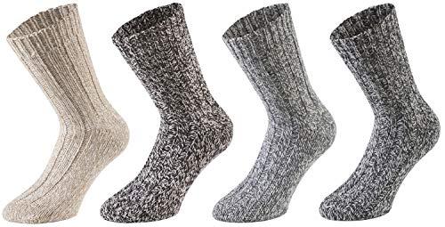 Tobeni 4 Paar warme Damen Herren Norweger Socken Wintersocken Schafwollsocken vorgewaschen Unisex Farbe Mehrfarbig Grösse 43-46