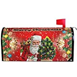 """Merry Christmas Tree Santa Claus Snowman Snowflake Mailbox Cover Magnetic Standard Size,Holiday Winter Red Poinsettia Letter Post Box Cover Wrap Decoration Welcome Home Garden Outdoor 21"""" Lx 18"""" W"""