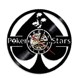 7-Color LED Light Vinyl Record Wall Clock Poker Ace of Spades Game Room Wall Lighting Lamp Watch Poker Player Clocks Gift 12 inch