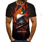 YUANCHENG 3DT Camisas para Hombres Camiseta deManga Corta con Esqueleto de Terror Camiseta con Cuello en O para Hombres