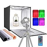 Neewer RGBW Caisson Lumineux Studio Photo avec Remote Infrarouge, 40 cm Tente de Tournage Pliable sur Table avec 48 RGBW LEDs, 2-20W Réglables, 6000K-6500K, 4 Couleurs Toiles de Fond