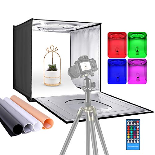 Neewer Foto Estudio Caja de Luz RGB con Control de Aplicación y Control Remoto por Infrarrojos Tablero de Mesa Plegable Tienda de Tiro de 40cm con 48 LED RGB Fondos Ajustables de 2-20W/6000K-6500K