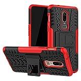 Labanema Oneplus 6 Funda, [Heavy Duty] [Doble Capa] [Protección Pesada] Híbrida Resistente Funda Protectora y Robusta para Oneplus 6 (con 4 en 1 Regalo empaquetado) - Rojo