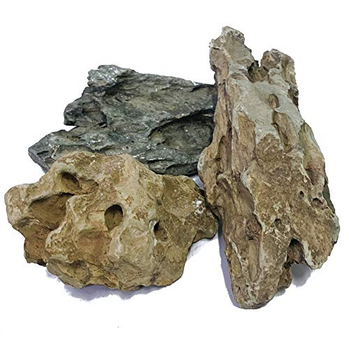 ZYYRT Natural Stone Aquarium Decoration 4.4 lb Dragon Stone RockMixed Sizes for Micro Landscape Fish Tank Decor