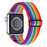 MEFEO Adjustable Elastic Bands Compatible with Apple Watch Bands 38mm 40mm 42mm 44mm, Soft Stretch Bracelet Replacement for iWatch Series 6/5/4/3/2/1 & SE Women Girls (Rainbow Stripe, 38mm/40mm)