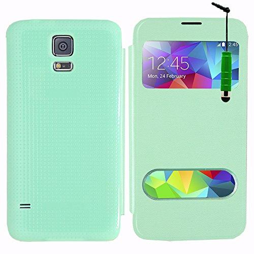ANNART - Funda con tapa para Samsung Galaxy S5 V G900F/S5 Plus/Neo (incluye lápiz capacitivo), color verde