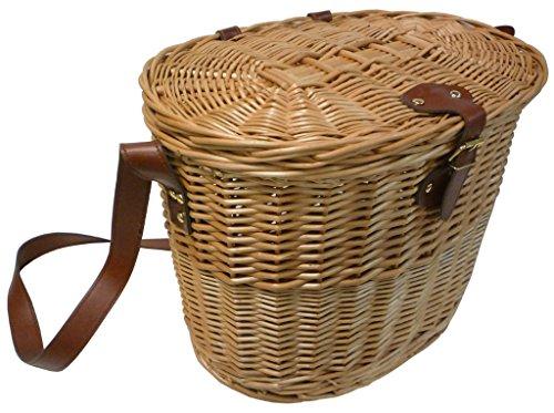Panier Sac Panier Cestone Panier pêche en osier avec bandoulière en cuir 40 x 28h31 Porte Champignons vivande objets pour pique-nique Camping