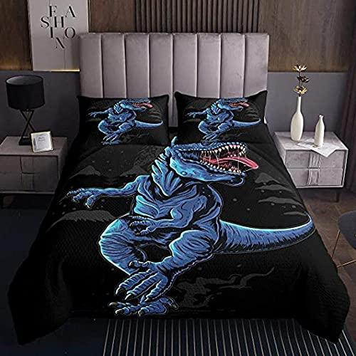 HSBZLH Bettbezüge Modern Dinosaurier Tagesdecke Cartoon Dinos 3Pcs Bettwäsche-Set Für Kinder Jungen Mädchen Junger Mann Jurassic Series Tie Dye Bettdecke Set