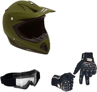 MMG 27 Combo Adult Motorcycle Off Road Helmet DOT - MX ATV Dirt Bike Motocross UTV. Medium, Military Green with Riding Gloves and Goggles