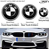 3pcs Black and White BMW 82mm Hood Emblem/74mm Trunk Emblem/45mm Steering Wheel Center Emblem for BMW, Emblems Replaceme 6 7 8 series 325i 328i E Series (fit B-M-W2)
