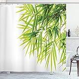 ABAKUHAUS Bambus Duschvorhang, Bambusblatt-Friedensikone, Moderner Digitaldruck mit 12 Haken auf Stoff Wasser & Bakterie Resistent, 175 x 180 cm, Grün-weiß
