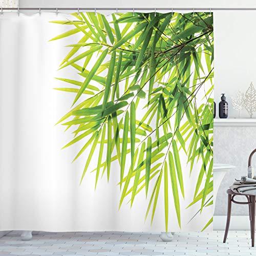 ABAKUHAUS Bambus Duschvorhang, Bambusblatt-Friedensikone, Moderner Digitaldruck mit 12 Haken auf Stoff Wasser und Bakterie Resistent, 175 x 240 cm, Grün-weiß