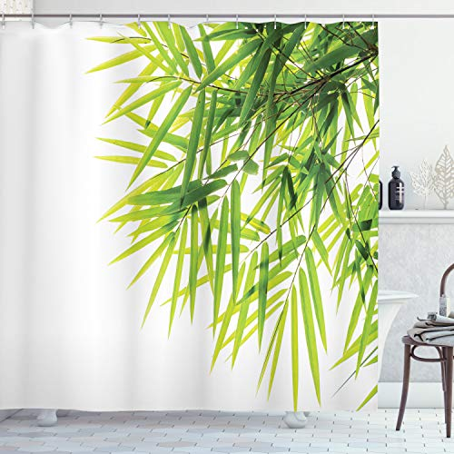 ABAKUHAUS Bambus Duschvorhang, Bambusblatt-Friedensikone, Moderner Digitaldruck mit 12 Haken auf Stoff Wasser und Bakterie Resistent, 175 x 180 cm, Grün-weiß