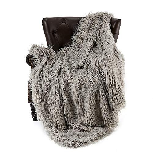 FFLMYUHUL I U Super Soft Faux Fur Throw Blanket & Bedspread Mongolian Fur Blanket Long Faux Fur Blanket Decorative for Bedroom Sofa Floor MT779-A-light Grey