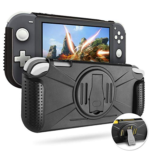 YoWin Protective Case for Nintendo Switch Lite, Heavy Duty Slim Hard Case Grip Cover with Kickstand Shock Absorption and Anti-Scratch (Black) …