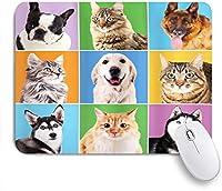 NINEHASA 可愛いマウスパッド 動物かわいい様々な犬と猫の肖像画子犬子猫ペット面白いユーモア ノンスリップゴムバッキングコンピューターマウスパッドノートブックマウスマット