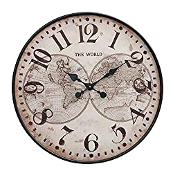 World Map Clock, Over 2 Feet Diameter, Analog, Quartz Movement , Standard Numbers, Circular, Vintage Style, Metal Frame, Distressed Wood, 28 Inch Diameter, 1 AA Battery (Not Included)