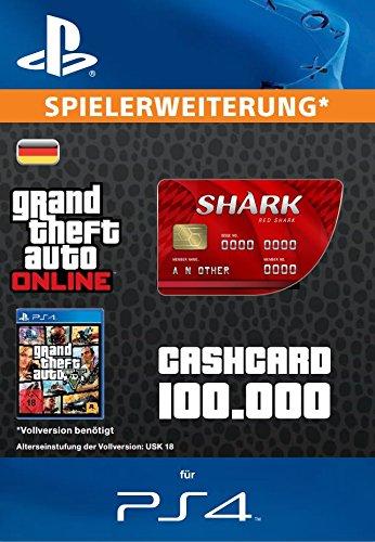 Grand Theft Auto Online | GTA V Red Shark Cash Card | 100,000 GTA-Dollars | PS4 Download Code - deutsches Konto
