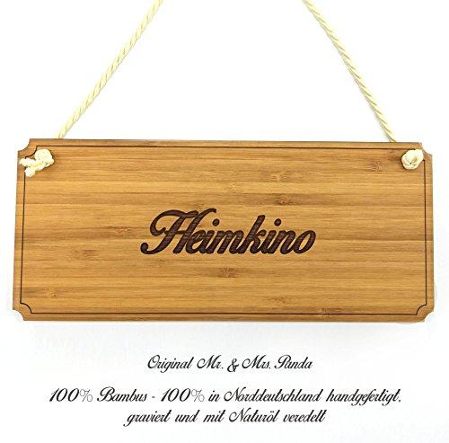 Mr. & Mrs. Panda Türschild Heimkino Classic Schild - 100% handmade aus Bambus - Landhaus, Shabby, graviert Türschild, Schild, Türschild, Dekoschild, Deko, Einrichtung, Nostalgie, Geschenk Landhaus, Shabby, graviert