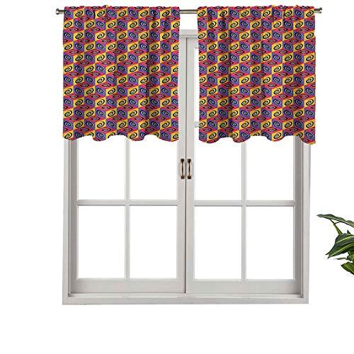 Hiiiman Cenefa de cortina de bolsillo de barra de alta calidad, patrón de cubo colorido con espirales, cuadrados ilustración con abstracto, juego de 2, 42 x 36 pulgadas para decoración de interiores