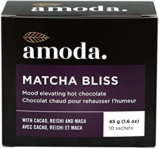 MATCHA BLISS BY AMODA - An adaptogenic mood lifting hot cacao with reishi coffee alternative. Organic cacao bliss: raw cac...
