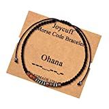Ohana Morse Code Bracelets for Women Men Unique Trendy Christmas Birthday Day Gifts for Mom Dad Aunt Wife Niece Grandma Daughter Best Friend Sisters Handmade Silk Wrap Strand Jewelry