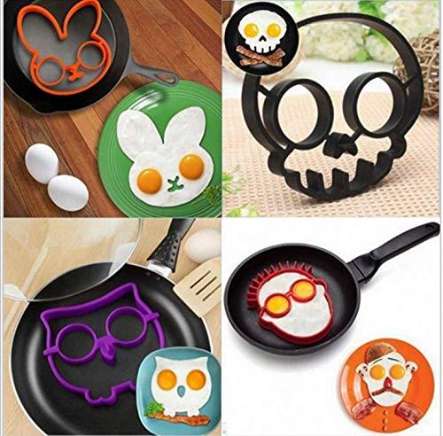 YANQIN 6PCS Molde de silicona para huevo frito, moldeador de anillo para panqueques, herramientas de cocina, divertido molde para huevo frito, utensilios de cocina, regalo para chico