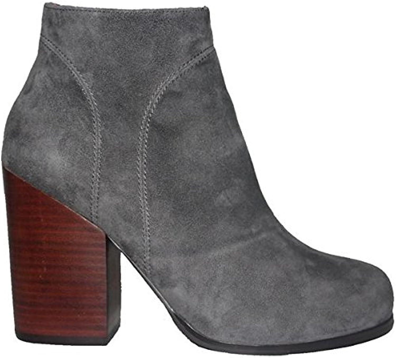 Kixters Chelsea - Grey Suede Side Zip Block Heel Short Boot