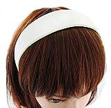 axy Breiter Haarreif mit Satin bezogen Haarband Vintage Klassik-Look Hairband Stirnband HRK1 (Weiss)