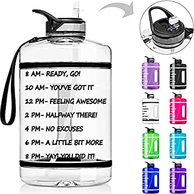 1 Gallon Water Bottle with Time Marker & Straw - 128 oz BPA Free Reusable Large Motivational Fitness Sports Water Bottle Leakproof Big Plastic Gym Water Jug for Biking, Running, Workout, Outdoor Sport