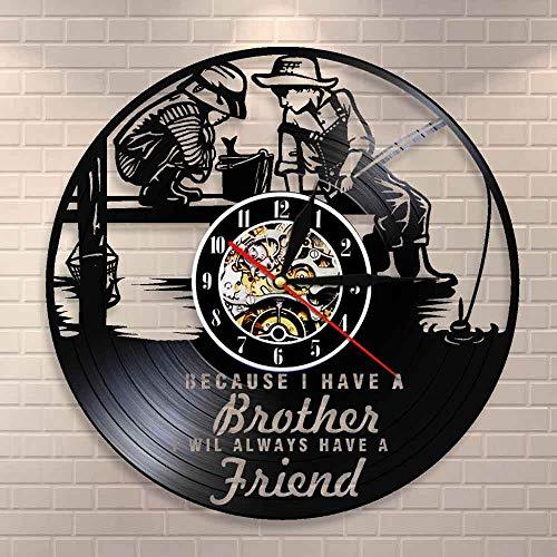 BFMBCHDJ Freundschaft Zitate Brüder Schlafzimmer Wanduhr Kinder Angeln Kinderzimmer Wanddekoration Wanduhr Bruderschaft Vinyl Record Art Clock